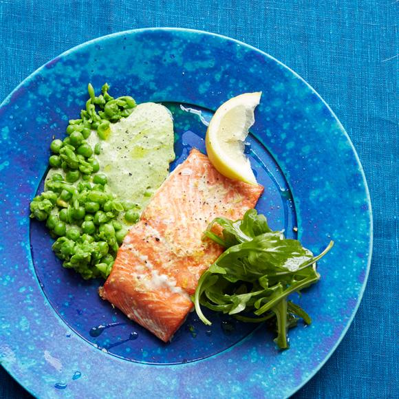Ryan Riley's recipe for baked salmon with peas and green mayo dressing
