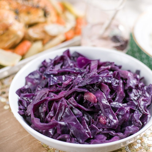 A bowl of steaming braised red cabbage