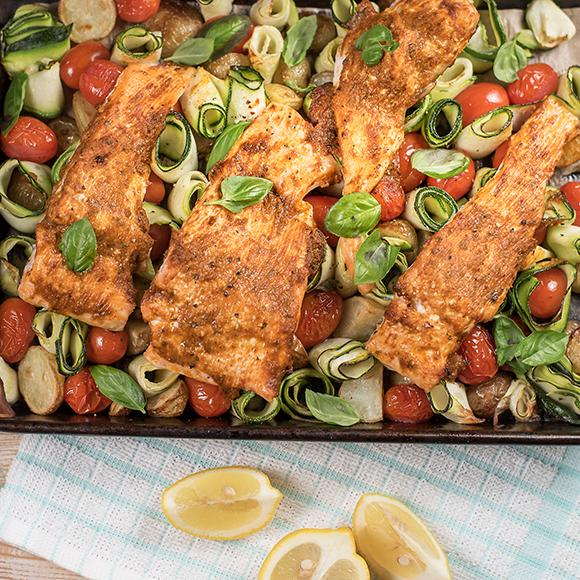 Roast salmon and pesto traybake, with courgette spirals