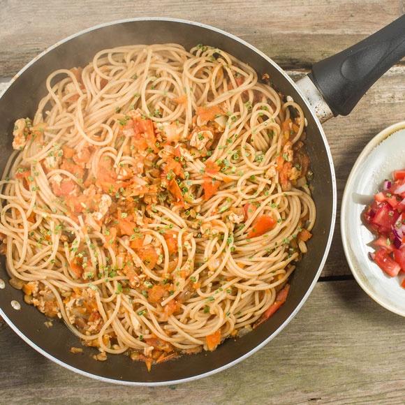 World Cancer Research Fund's healthier spaghetti bolognese recipe