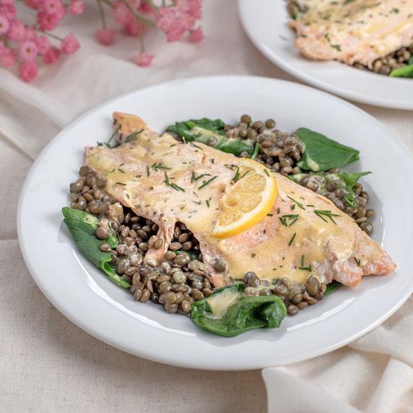Trout with warm lentil salad recipe